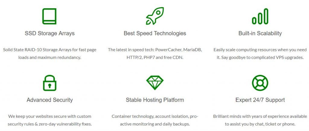 Advantages of using GreenGeeks Web Hosting. Screenshot taken from GreenGeeks website.